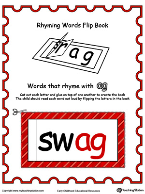 Use this Printable Rhyming Words Flip Book AG in Color to teach your child to see the relationship between similar words.