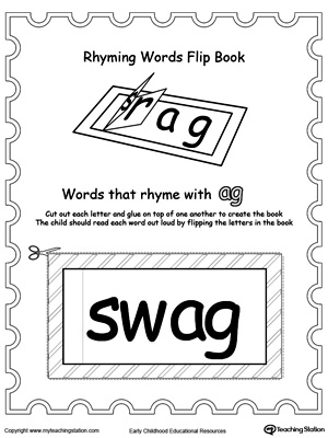 image about Printable Flip Book titled Printable Rhyming Phrases Switch E book AG