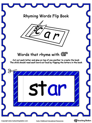 Printable Rhyming Words Flip Book AR in Color