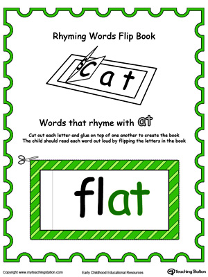 Printable Rhyming Words Flip Book AT in Color