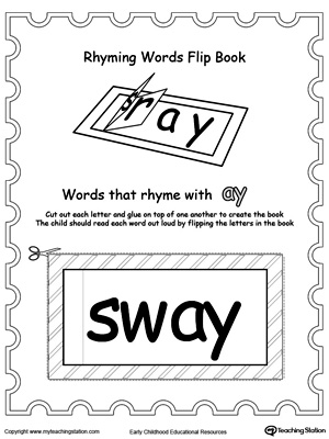 Use this Printable Rhyming Words Flip Book AY to teach your child to see the relationship between similar words.