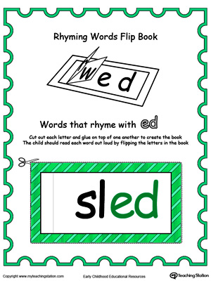 photograph relating to Printable Flip Books known as Printable Rhyming Terms Change E book ED within just Coloration