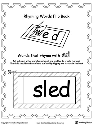 Printable Rhyming Words Flip Book ED