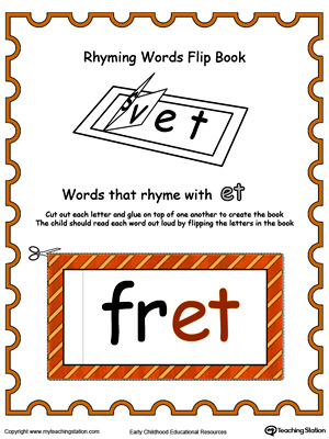 Printable Rhyming Words Flip Book ET in Color