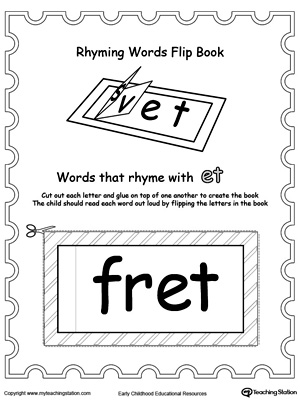 image about Printable Flip Books called Printable Rhyming Text Turn E book ET