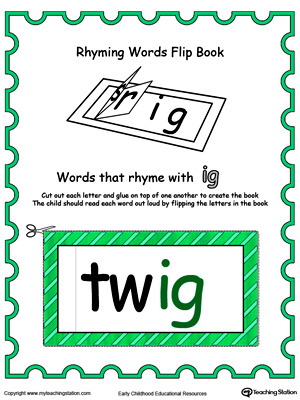 Use this Printable Rhyming Words Flip Book IG in Color to teach your child to see the relationship between similar words.