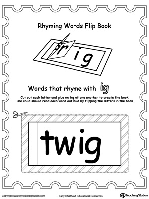 picture about Printable Flip Book titled Printable Rhyming Text Turn Ebook IG