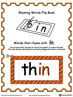 Use this Printable Rhyming Words Flip Book IN in Color to teach your child to see the relationship between similar words.