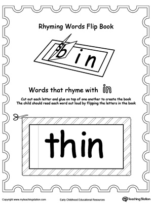 Printable Rhyming Words Flip Book IN