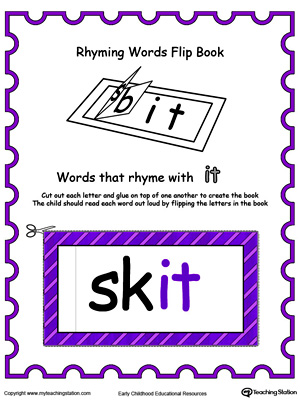Use this Printable Rhyming Words Flip Book IT in Color to teach your child to see the relationship between similar words.