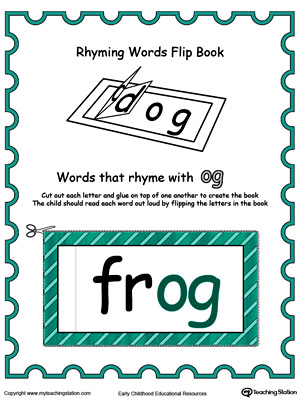 Use this Printable Rhyming Words Flip Book OG in Color to teach your child to see the relationship between similar words.
