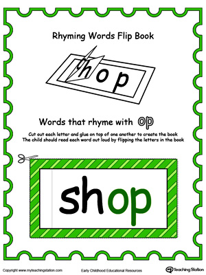 Printable Rhyming Words Flip Book OP in Color