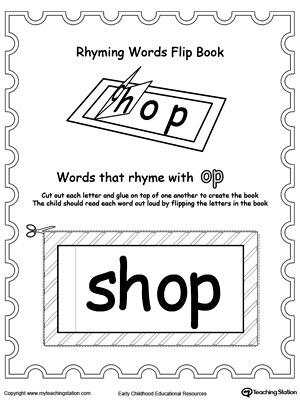 Printable Rhyming Words Flip Book OP