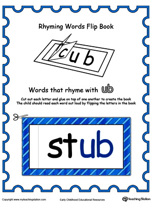 Printable Rhyming Words Flip Book UB in Color