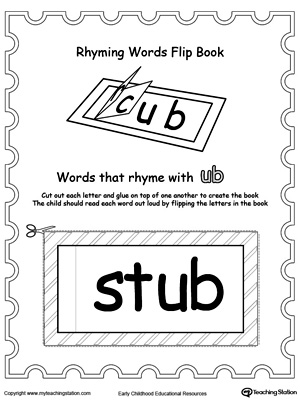 Printable Rhyming Words Flip Book UB