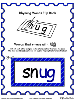 Use this Printable Rhyming Words Flip Book UG in Color to teach your child to see the relationship between similar words.