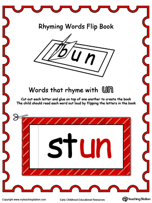 Use this Printable Rhyming Words Flip Book UN in Color to teach your child to see the relationship between similar words.