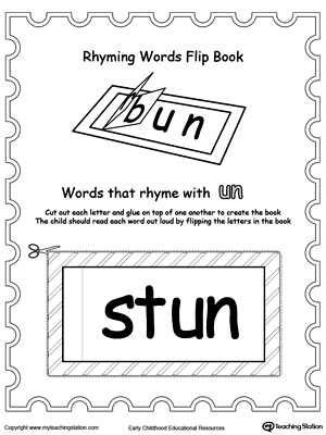 Printable Rhyming Words Flip Book UN