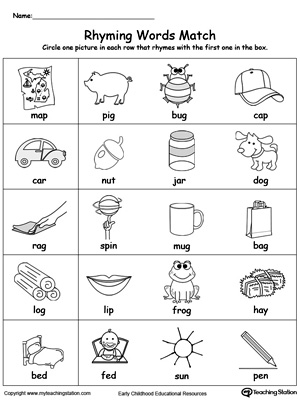 Printables Free Printable Rhyming Worksheets For Kindergarten early childhood rhyming worksheets myteachingstation com words match