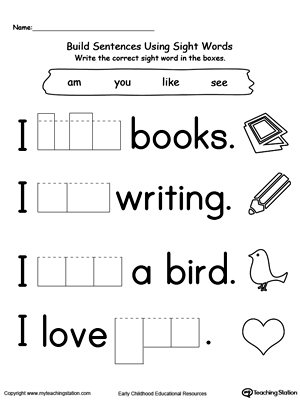 math worksheet : learning sight word yes  myteachingstation  : Kindergarten Sight Word Worksheets Printable