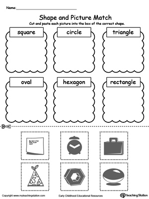 math worksheet : shape and picture match  myteachingstation  : Shapes Worksheet For Kindergarten
