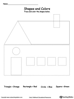 Printables Make Tracing Worksheets trace shapes to make a house myteachingstation com downloadfree worksheet