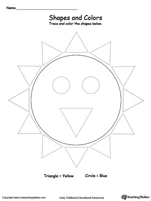Practice fine motor skills while learning shapes with this Trace Shapes to Make a Sun printable worksheet.