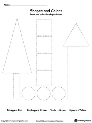 Practice fine motor skills while learning shapes with this Trace Shapes to Make Trees printable worksheet.