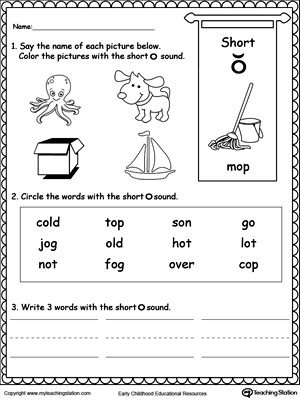 Short O Sound Worksheet | MyTeachingStation.com