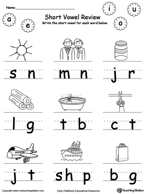 Short Vowel Review. Write Missing Vowel. | MyTeachingStation.com