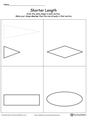 Teach the concept of length (long and short) using this Shorter Length printable worksheet.