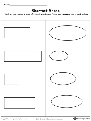 Teach the concept of length (long and short) using this Shortest Shape printable worksheet.