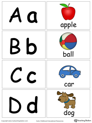 Small Alphabet Flash Cards for Letters A B C D
