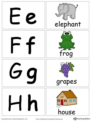 Small Alphabet Flash Cards for Letters E F G H