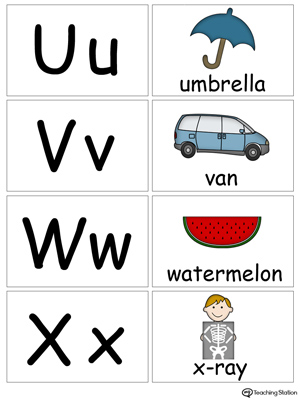 Small alphabet printable flashcards in color for the letters: U V W X.