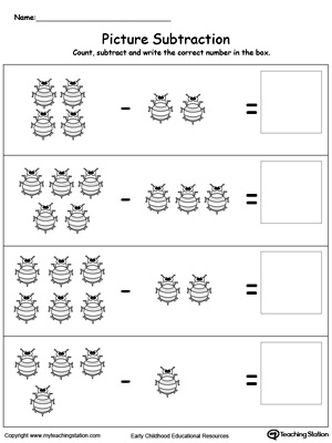 math worksheet : kindergarten subtraction printable worksheets  myteachingstation  : Subtraction Printable Worksheets