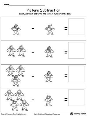math worksheet : early childhood subtraction worksheets  myteachingstation  : Subtract Worksheets