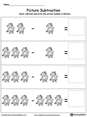 math worksheet : early childhood subtraction worksheets  myteachingstation  : Free Printable Subtraction Worksheets For Kindergarten