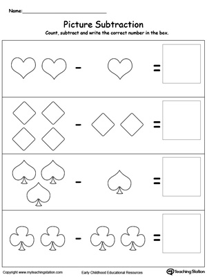 Kindergarten Subtraction Printable Worksheets | MyTeachingStation.com