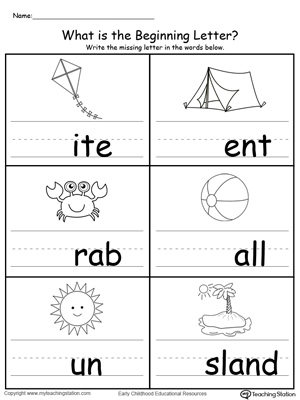 Practice Beginning Letter Sound Worksheet | MyTeachingStation.com