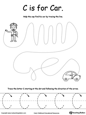 Say the name of the picture (Car), then trace the lines and the letter C in this pre-writing printable worksheet.