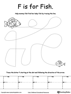 Say the name of the picture (Fish), then trace the lines and the ...
