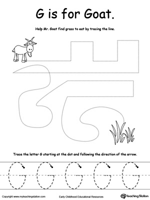 math worksheet : the letter g is for goat  myteachingstation  : Letter G Worksheets For Kindergarten
