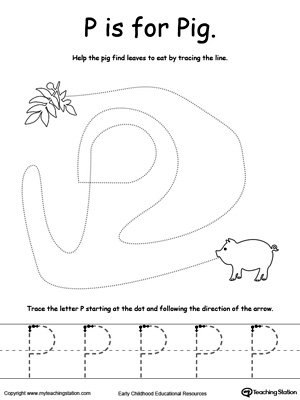 Say the name of the picture (Pig), then trace the lines and the letter P in this pre-writing printable worksheet.