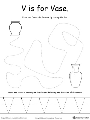 The Letter V Is For Vase on preschool prewriting practice letter a