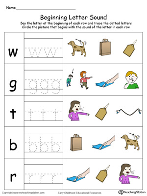 Trace and Match Beginning Letter Sound: AG Words in Color