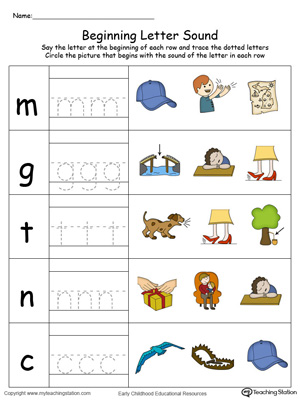 Trace and Match Beginning Letter Sound: AP Words in Color