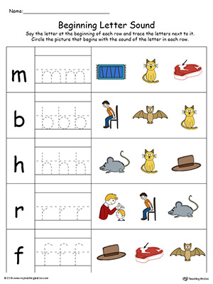 Trace and Match Beginning Letter Sound: AT Words in Color