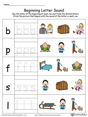 Trace and Match Beginning Letter Sound: ED Words in Color