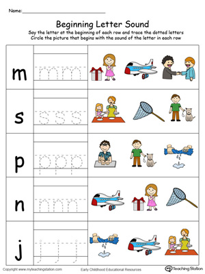 Trace and Match Beginning Letter Sound: ET Words in Color